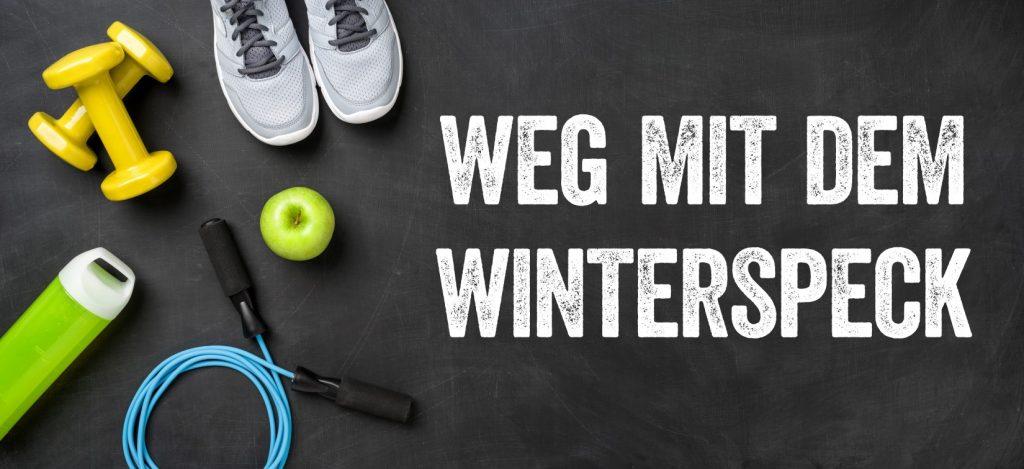 """Die Infografik """"Weg mit dem Winterspeck"""" macht es deutlich: es gibt einige Möglichkeiten, die Apfelessigdiät zu unterstützen. Sportliche Betätigung hilft nicht nur beim planmäßigen Abnehmen, es hält auch beständig fit. Quelle: ihr Körper! (#3)"""